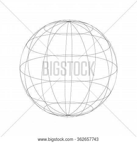 Wireframe Earth Model. Black Wired Sphere Frame. Globe Spheres. Vector Illustration