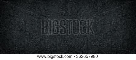 Crumpled Black Soft Leather Wide Texture. Supple Leather Textured Dark Background