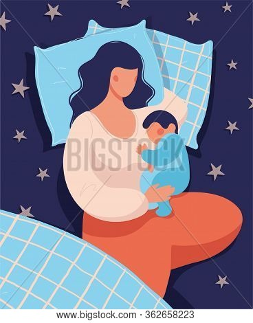 A Woman Sleeps With Her Newborn Baby At Night In Bed. Conceptual Illustration Of Breastfeeding, Safe