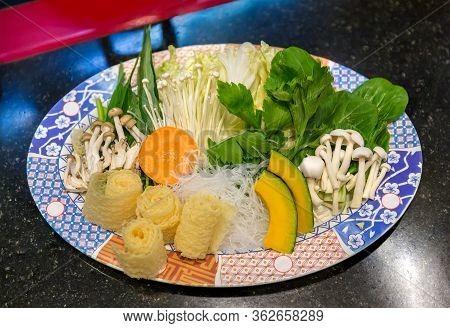 Sukiyaki Japanese Food Shabu Shabu. Sukiyaki Fresh Beef Pork Slices, Vegetable, Dinner Set. Shabu Or
