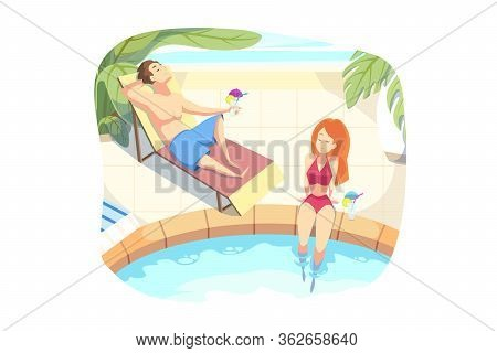 Summer Vacation, Holiday, Rest Concept. Couple In Love Boyfriend Girlfriend Tourists Travelers On Ho