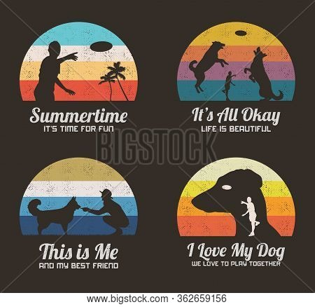 Summer Game On Beach. Set Of Retro Illustrations With Silhouette Of Man Playing With Dogs. Guy Throw