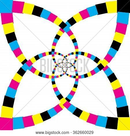 Abstract Arabesque Double Perspective Color Swatches Cmyk On Transparent Background