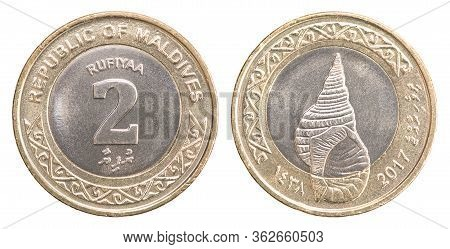 Maldives Coin 2 Rufiyaa Isolated On White Background