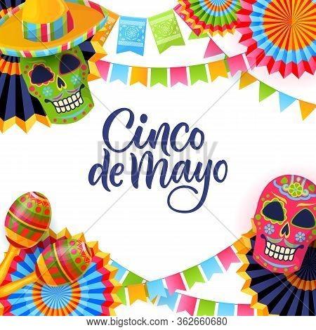 Cinco De Mayo Fiesta, Square Banner Or Poster Design Template. Vector Flat Cartoon Illustration. Gre