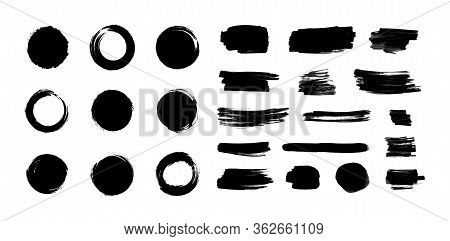Vector Black Paint Brush Strokes Set Isolated On White Background, Japanese Enso Circles, Different
