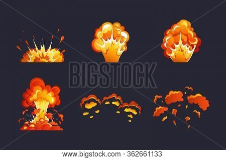 Bomb Explosion And Fire Explosion Cartoon Set. Animation For A Game With An Explosion Effect. Dynami