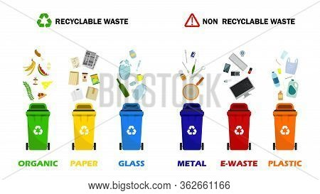 Waste Management Concept. Waste Segregation. Separation Of Waste In Trash Bins. Containers For All T