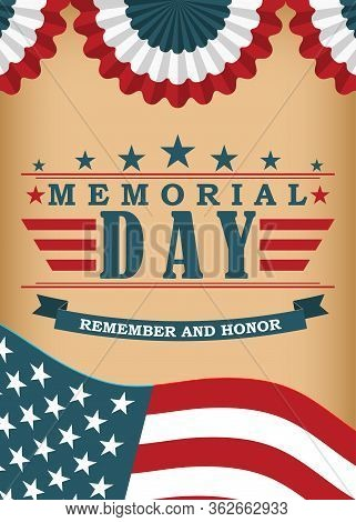 Memorial Day Background. Template For Memorial Day Banner And Poster Design. Memorial Day Greeting C
