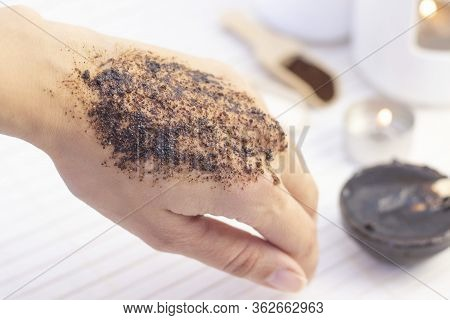 Natural Scrub Made From Coffee And Sugar. Hand Peeling Sugar Scrub With Coffee. Spa Hand Treatment.
