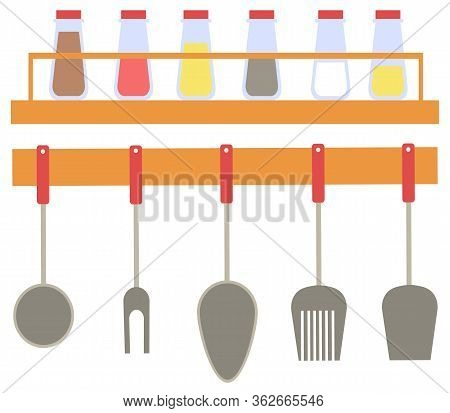 Kitchen Cutlery Vector, Spatula And Fork For Bbq Barbeque, Spoon Flat Style. Bottles On Wooden Shelf