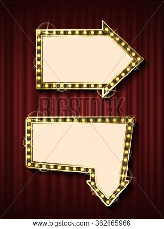 Niht Show Pointer Banner Template, Theater Curtain Backdrop And Blank Frame With Lamps Vector. Arrow