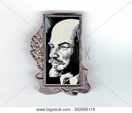 Ussr - Circa 1974: Badge With The Image Of Vladimir Lenin (ulyanov, 1870-1924) From The Series  \