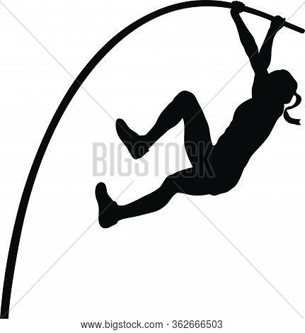 Woman Athlete Pole Vaulter In Pole Vault Black Silhouette