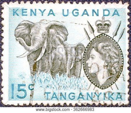 Kenya, Uganda, Tanganyika - Circa 1954: Postage Stamp Printed In East African Postal Union (kenya, U