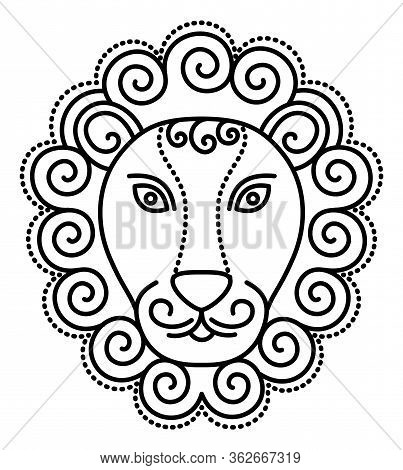 Fifth Astrological Sign, Leo Associated With Constellation. Fire Zodiac Represented By Symbol Of Lio