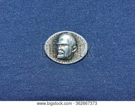 Ussr - Circa 1969: Metal Badge With The Image Of Vladimir Lenin (ulyanov, 1870-1924) From The Series