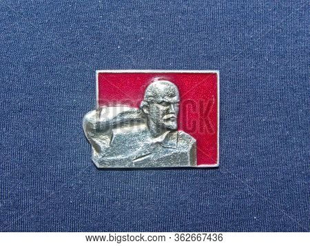 Ussr - Circa 1970: Metal Badge With The Image Of Vladimir Lenin (ulyanov, 1870-1924) From The Series