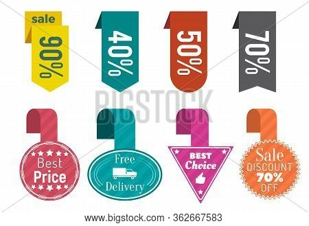 Collection Of Promo Banners With Percentage And Text. 90 And 40, Fifty And Seventy Percent Off Price