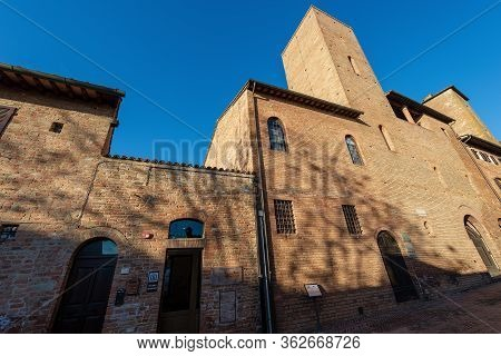 Certaldo, Tuscany, Italy, Jan 7, 2017: Casa Boccaccio Museum, The House Where The Famous Poet Giovan