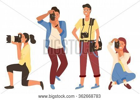 Man And Woman Holding Photo-camera And Shooting. Photographers In Casual Clothes Taking Photos, Male