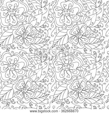 Seamless Pattern With Flowers, Curved Doodles Leaves. The Mehndi Design. Monochrome Texture , Black