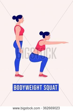 Girl Doing Bodyweight Squat Exercise, Woman Workout Fitness, Aerobic And Exercises. Vector Illustrat