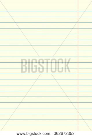 Notebook Sheet In A Line With Red Margins. Paper Background Stock - Vector Illustration.