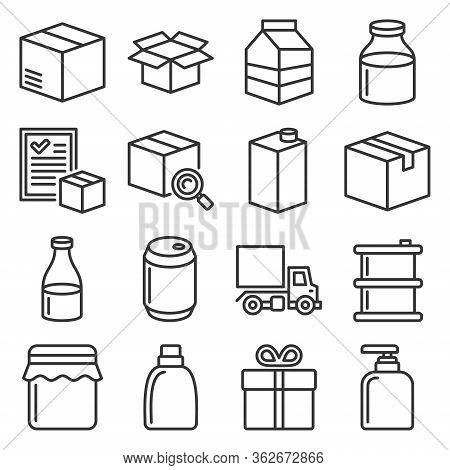 Product Release Icons Set On White Background. Line Style Vector