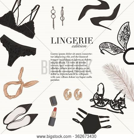 Lingerie Underwear Hand-drawn Doodle Template: Bra, Bralete, Undies Set, Heels, Cosmetcs Womens Bout