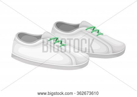 Men Casual White Shoes Or Sneakers With Shoelace Isolated On White Background Vector Illustration