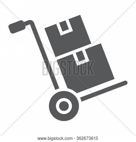 Hand Truck With Cardboard Boxes Glyph Icon, Logistic And Delivery, Hand Dolly Sign Vector Graphics,