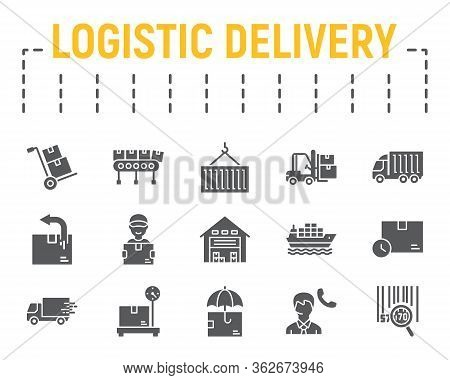 Logistics Shipping Glyph Icon Set, Delivery Symbols Collection, Vector Sketches, Logo Illustrations,