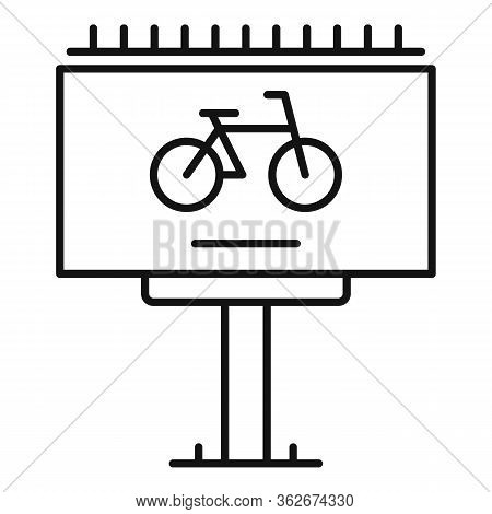 Bike Rent Billboard Ad Icon. Outline Bike Rent Billboard Ad Vector Icon For Web Design Isolated On W