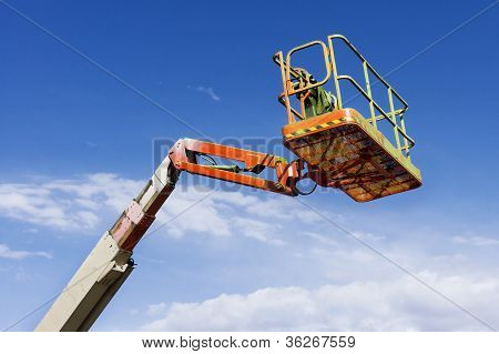 Orange Mechanical Lift, Cherry Picker