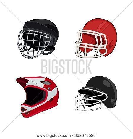 American Football, Ice Hockey, Baseball, Motor Bike Uniform Helmet. Rugby Head Protection Equipment.