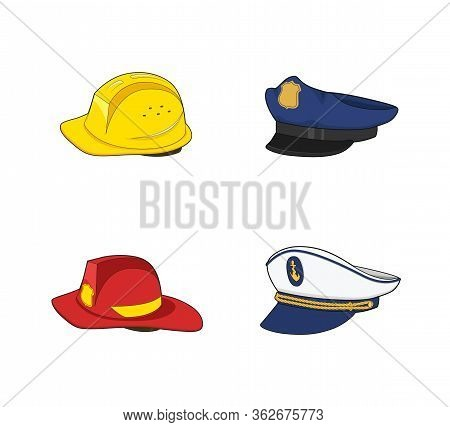Workers Uniform. Policeman, Fireman, Captain, Builder Hat Set. Fireman Red And Construction Yellow H