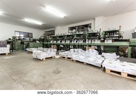 Inside An Empty Printing And Packaging Factory Facility