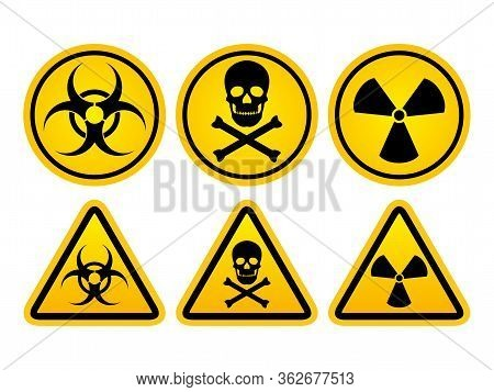 Danger Warning Set Circle And Triangle Yellow Sign. Radiation Symbol, Toxic Sign And Bio Hazard Vect