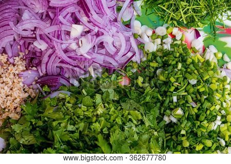 Chopped Green Onion And Fresh Coriander In Bowl. Onion, Chilies & Coriander Chopped , Typical Ingred