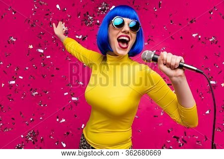 Closeup Photo Of Funny Nice Lady Singer Party Night Club Microphone Karaoke Confetti Falling Wear Sp