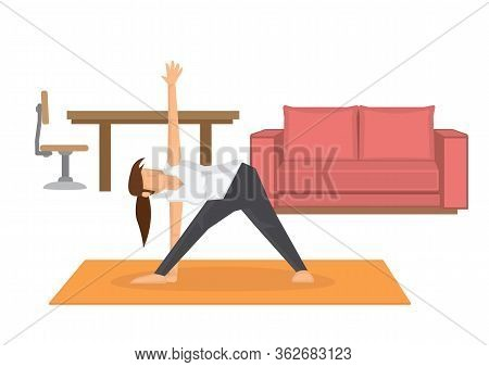 Young Woman Doing Yogo, Exercising At Home, Stretching Legs. Stay At Home Exercise Concept. Vector I