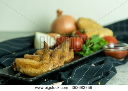 Crispy Kentucky Fried Chicken In A Wooden Table - Junk Food And Unhealthy Food. Breaded Crispy Spicy