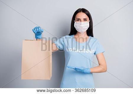 Portrait Of Her She Nice Attractive Pretty Girl Medic Doc Voluntary Work Worker Job Presenting Demon