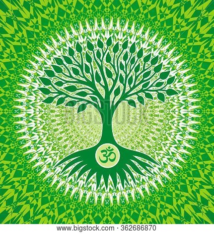 The Tree Of Life With An Om / Aum/ Ohm Sign On A Green And Yellow Openwork Mandala Background. Spiri