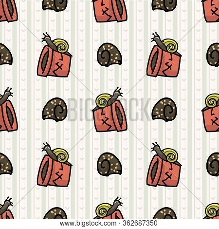 Cute Plant Pot With Snails Seamless Vector Pattern. Hand Drawn Growing Garden For Stay Home Illustra