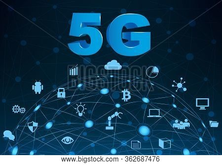 Internet Networking Concept And 5g Technology.network In Background  With Different Icon And Element