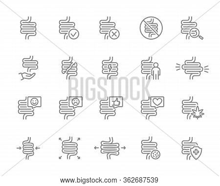Set Of Human Intestine Line Icon. Healthy Internal Organ, Digestive Tract Illness, Diagnosis, Treatm