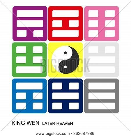 Vector Yin And Yang Symbol Chinese Feng Shui Bagua Quadrat. King Wen