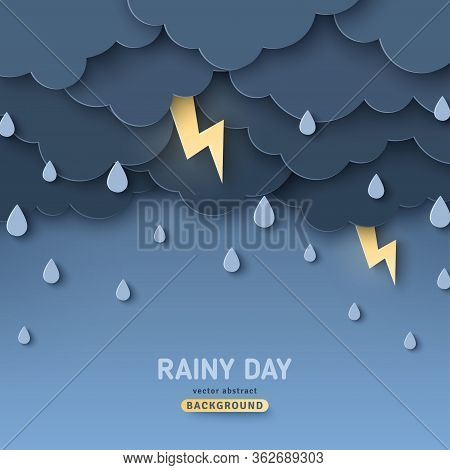Overcast Sky, Thunder And Lightning In Paper Cut Style. Vector Illustration. Rainy Day Concept With